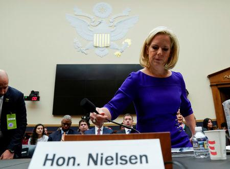 FILE PHOTO: U.S. Secretary of Homeland Security Kirstjen Nielsen arrives to testify to the House Judiciary Committee hearing on oversight of the Department of Homeland Security on Capitol Hill in Washington, U.S., December 20, 2018.      REUTERS/Joshua Roberts
