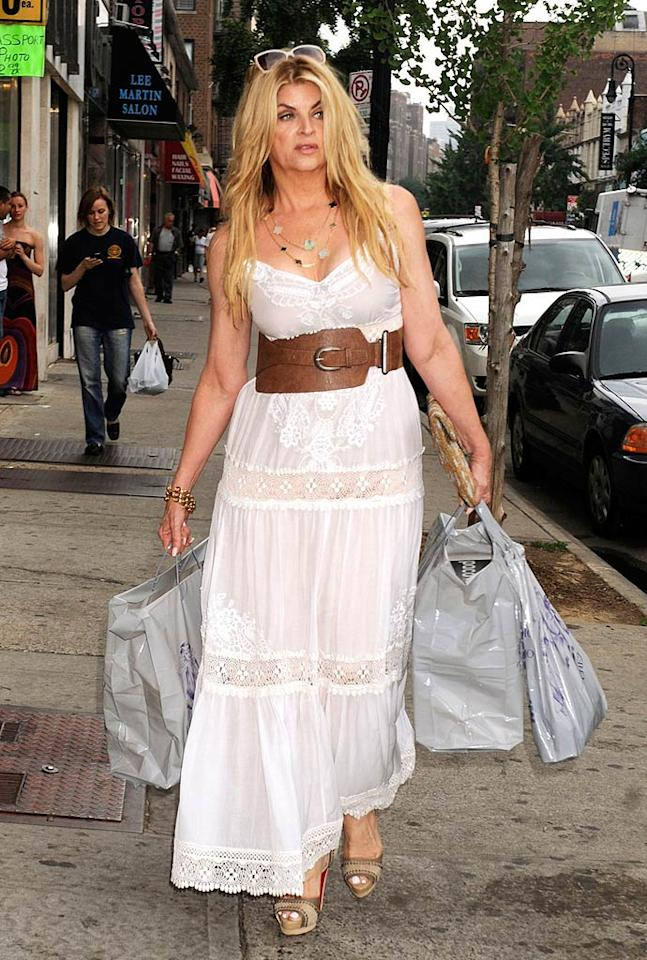 "After recently claiming she has nearly the same waist size as Megan Fox thanks to her physically demanding stint on ""Dancing With the Stars,"" Kirstie Alley tried to accentuate her shape with an odd-shaped cinched leather belt as she shopped in New York City on Wednesday. Demis Maryannakis/<a href=""http://www.pacificcoastnews.com/"" target=""new"">PacificCoastNews.com</a> - June 22, 2011"