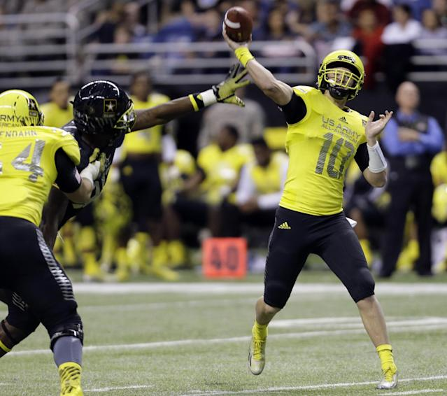 U.S. Army All-American West's Kyle Allen (10) throws under pressure during the U.S. Army All-American Bowl football game, Saturday, Jan. 4, 2014, in San Antonio. (AP Photo/Eric Gay)