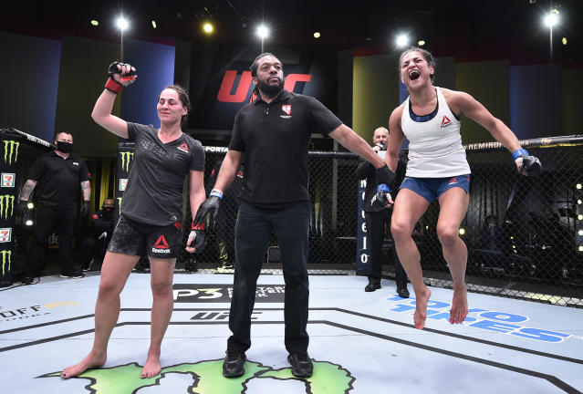 Cynthia Calvillo reacts after her decision victory over Jessica Eye in their flyweight fight during UFC Fight Night at UFC Apex on June 13, 2020, in Las Vegas. (Photo by Chris Unger/Zuffa LLC)