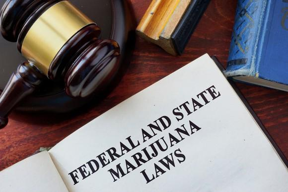 A book about federal and state marijuana laws alongside a judge's hammer.