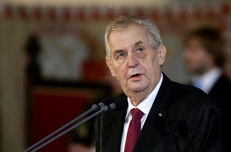 Re-elected Czech President Milos Zeman attends the inauguration ceremony at Prague Castle in Prague