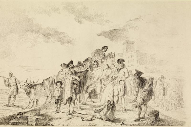 """This image provided by the New Mexico Museum of Art shows Francisco de Goya's drawing """"The blind guitarist,"""" 1788. The drawing is part of an exhibition, """"Renaissance to Goya: Prints and Drawings from Spain,"""" which opens Saturday, Dec. 14, 2013, at the New Mexico Museum of Art in Santa Fe, N.M. (AP Photo/Courtesy of the New Mexico Museum of Art)"""