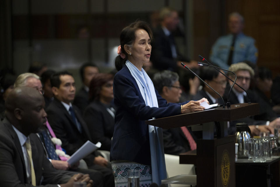 FILE - In this Dec. 11, 2019, file photo, Myanmar's leader Aung San Suu Kyi addresses judges of the International Court of Justice for the second day of three days of hearings in The Hague, Netherlands. Myanmar's military has taken control of the country under a one-year state of emergency and reports say State Counsellor Aung San Suu Kyi and other government leaders have been detained. (AP Photo/Peter Dejong, File)