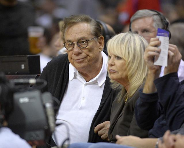 Los Angeles Clippers owners Donald Sterling and his wife Rochelle Stein watch the Clippers play the San Antonio Spurs during the second half of their NBA basketball game, Wednesday, Nov. 7, 2012, in Los Angeles. (AP Photo/Mark J. Terrill)