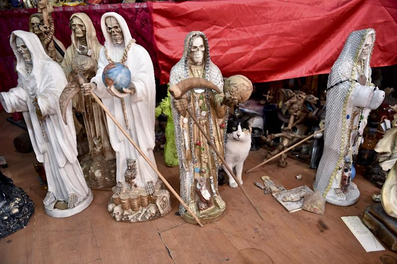 Devotion to the Grim Reaper-like Santa Muerte (Holy Death) in Mexico is growing fast despite the Vatican's rejection of the figure as blasphemous (AFP Photo/Yuri Cortez)