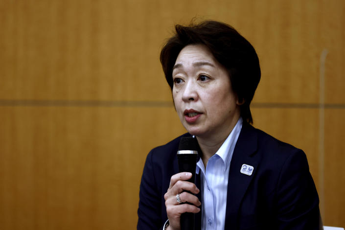 President of the Tokyo 2020 Olympics Organizing Committee Seiko Hashimoto speaks during a press briefing on the operation and media coverage of Tokyo 2020 Olympic Torch Relay in Tokyo Thursday, Feb. 25, 2021. (Behrouz Mehri/Pool Photo via AP)