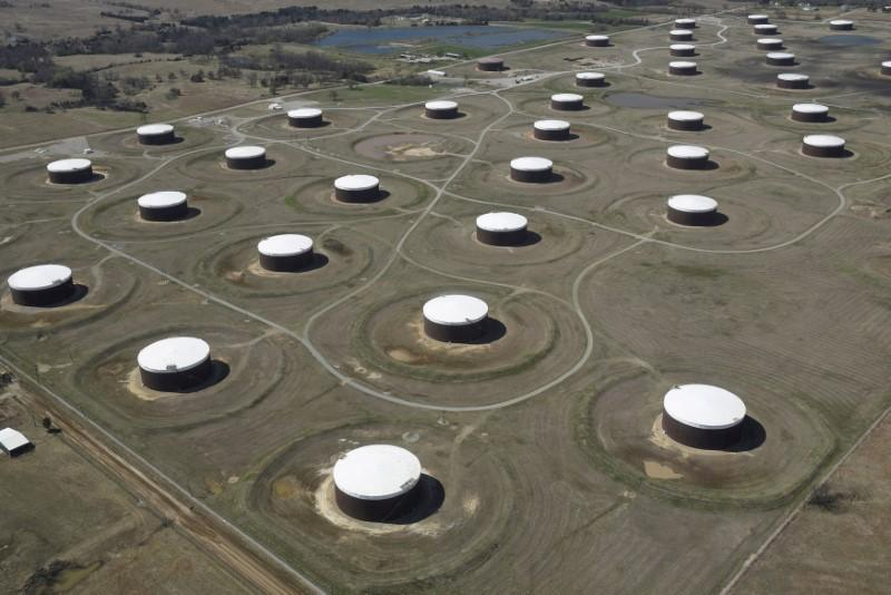 FILE PHOTO: Crude oil storage tanks are seen from above at the Cushing oil hub in Cushing
