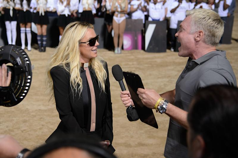 Brittany Spears announces her new show at Planet Hollywood Vegas to Sam Champion during the taping of Good Morning America on Tuesday, Sept. 17, 2013 in Las Vegas. (Photo by Al Powers/Invision/AP)