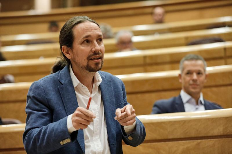 El vicepresidente segundo del Gobierno, Pablo Iglesias, en una sesión de control al Gobierno en el Senado. (Photo: Europa Press News via Getty Images)