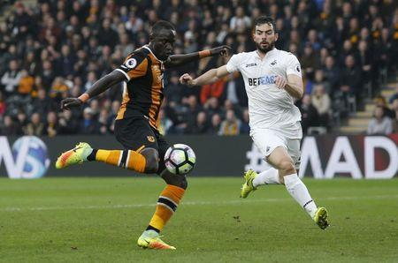 Hull City v Swansea City - Premier League - The Kingston Communications Stadium - 11/3/17 Hull City's Oumar Niasse scores their second goal  Action Images via Reuters / Ed Sykes Livepic