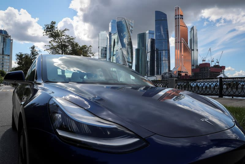 FILE PHOTO: A Tesla Model 3 electric vehicle is shown in Moscow