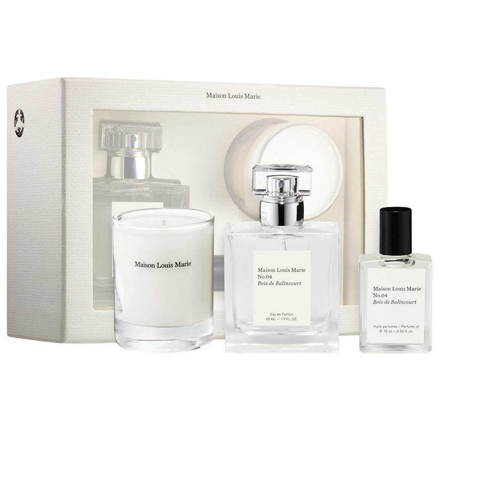 """<p><strong>Maison Louis Marie</strong></p><p>sephora.com</p><p><strong>$114.00</strong></p><p><a href=""""https://go.redirectingat.com?id=74968X1596630&url=https%3A%2F%2Fwww.sephora.com%2Fproduct%2Fno-04-bois-de-balincourt-votive-set-P451665&sref=https%3A%2F%2Fwww.prevention.com%2Fbeauty%2Fg37724897%2Fbest-perfume-gift-sets%2F"""" rel=""""nofollow noopener"""" target=""""_blank"""" data-ylk=""""slk:Shop Now"""" class=""""link rapid-noclick-resp"""">Shop Now</a></p><p>Although it's on the pricier side, this set contains a full-sized perfume, a perfume oil, <strong>and a candle </strong>made with its lovely scent, which is sandalwood-based with notes of cinnamon and nutmeg.</p>"""