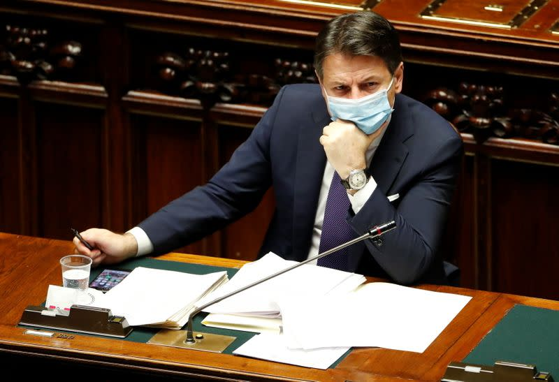 Italian Prime Minister Giuseppe Conte addresses members of the lower house of parliament, in Rome