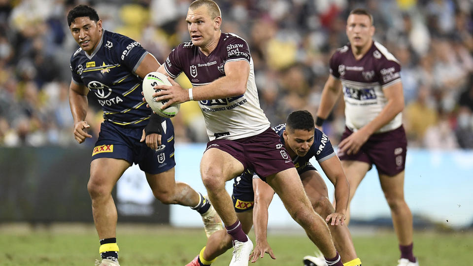Tom Trbojevic, pictured here in action for the Sea Eagles against the Cowboys.