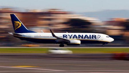 A Ryanair aircraft lands at Ciampino Airport in Rome, Italy December 24, 2016. REUTERS/Tony Gentile