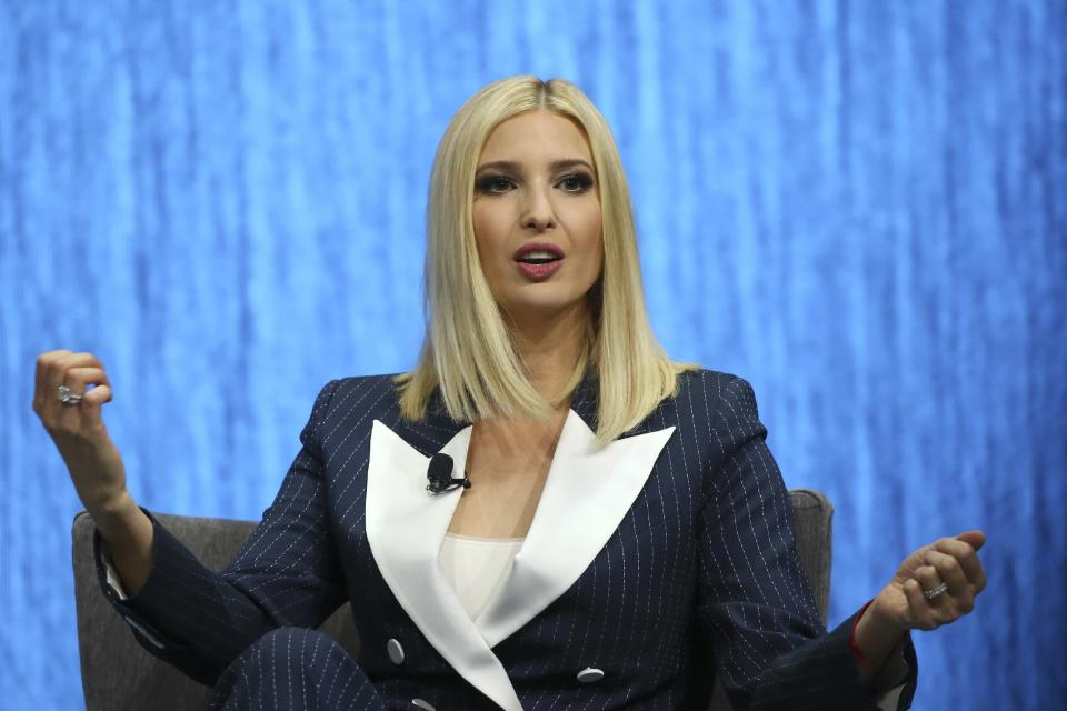 Ivanka Trump, the daughter and senior adviser to U.S. President Donald Trump, answers a question as she is interviewed at the Consumer Technology Association event during the CES tech show Tuesday, Jan. 7, 2020, in Las Vegas. (AP Photo/Ross D. Franklin)