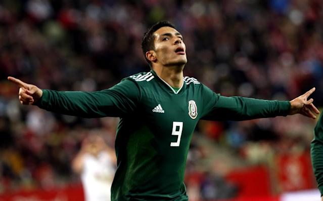 Soccer Football - International Friendly - Poland vs Mexico - Energa Stadium, Gdansk, Poland - November 13, 2017 Mexico's Raul Jimenez celebrates scoring their first goal Agencja Gazeta/Kuba Atys via REUTERS POLAND OUT. NO COMMERCIAL OR EDITORIAL SALES IN POLAND THIS IMAGE HAS BEEN SUPPLIED BY A THIRD PARTY.