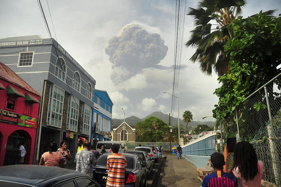 Ash and smoke billow as the La Soufriere volcano erupts in Kingstown on the eastern Caribbean island of St Vincent.