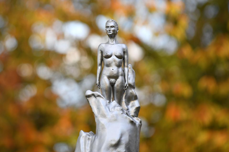 A new sculpture honoring 18th-century British author and feminist icon Mary Wollstonecraft, by artist Maggi Hambling, was unveiled on Nov. 10 in north London's Newington Green, close to where Wollstonecraft lived and worked. Many were upset that the bronze casting was nude. (Photo: JUSTIN TALLIS/AFP via Getty Images)
