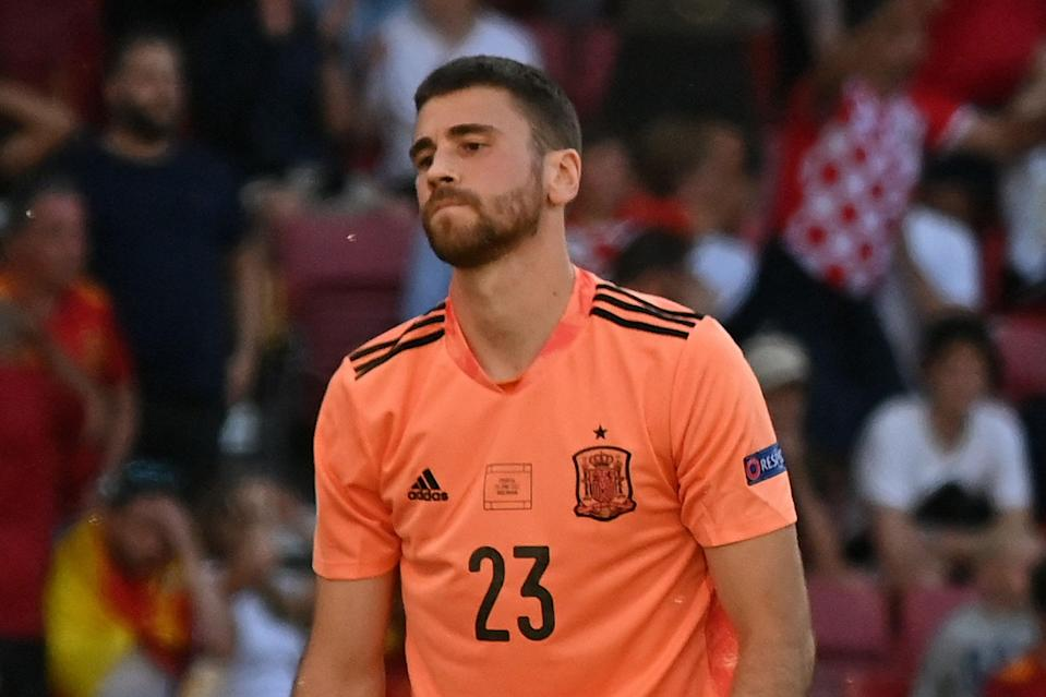 Unai Simon made a huge blunder for Spain against Croatia at Euro 2020 (POOL/AFP via Getty Images)