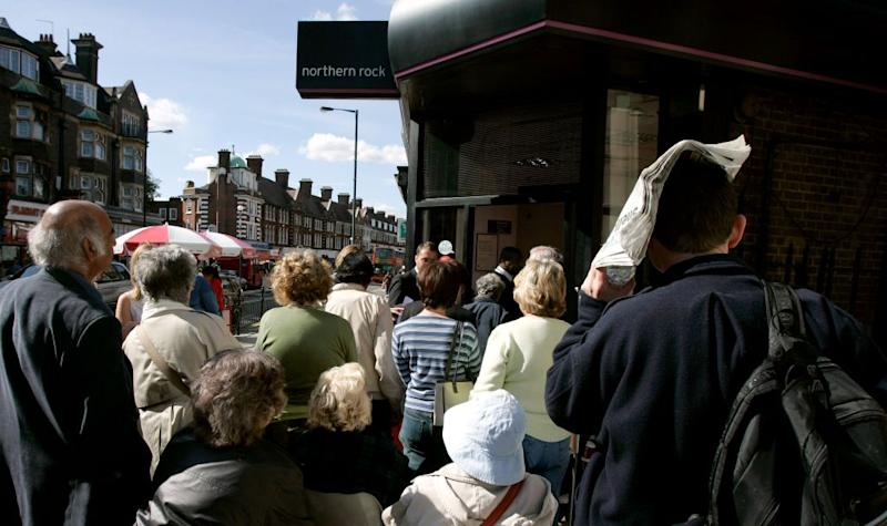 Customers line up outside Northern Rock in 2007, the first run on a British bank in 150 years.