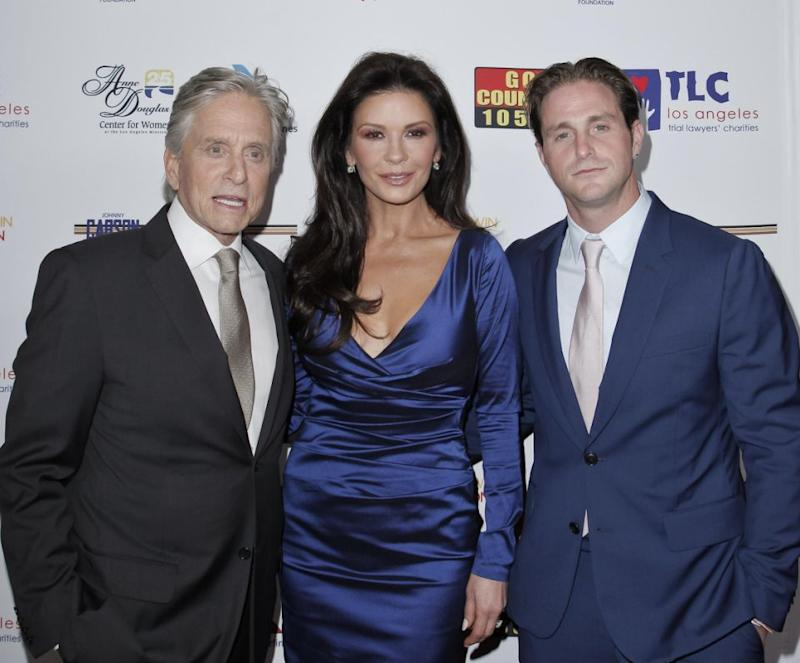 Cameron, seen here with his dad Michael Douglas and Catherine Zeta-Jones last year, has thanked his family for supporting him through prison. Source: Getty