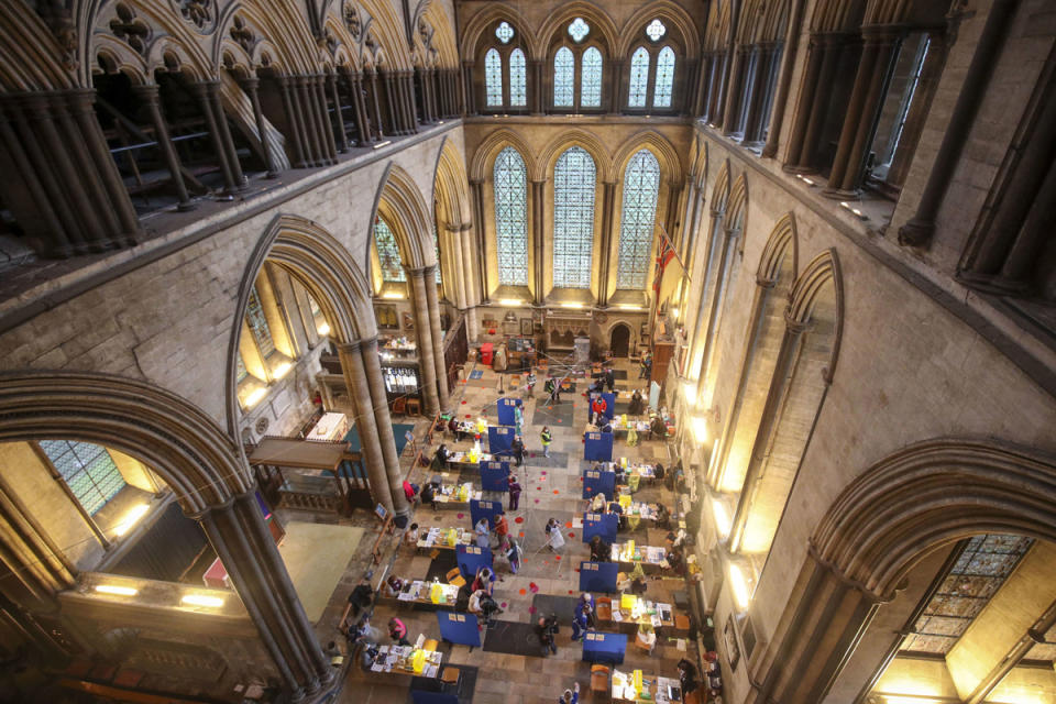 <p>Vaccinations being administered at Salisbury Cathedral in Wiltshire</p> (PA)