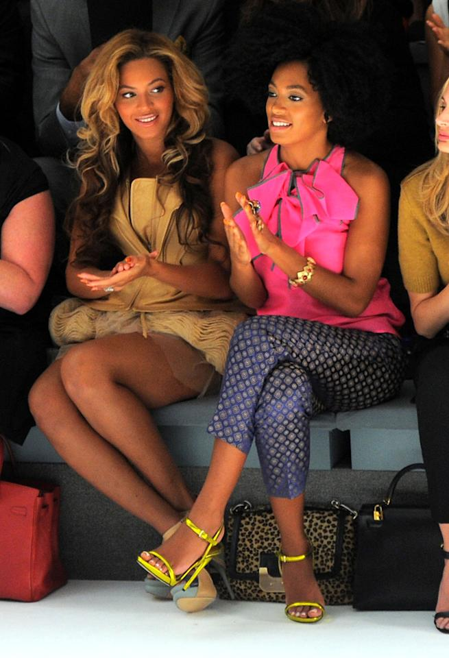 "Beyonce Knowles and her little sis Solange apparently liked what they saw coming down the runway at Vera Wang's show. Larry Busacca/<a href=""http://www.gettyimages.com/"" target=""new"">GettyImages.com</a> - September 13, 2011"
