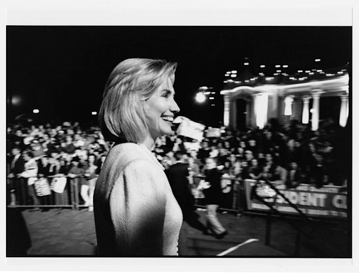 At a campaign rally in Balboa Park, San Diego, following Bill Clinton's presidential debate with Bob Dole there. October 16, 1996.