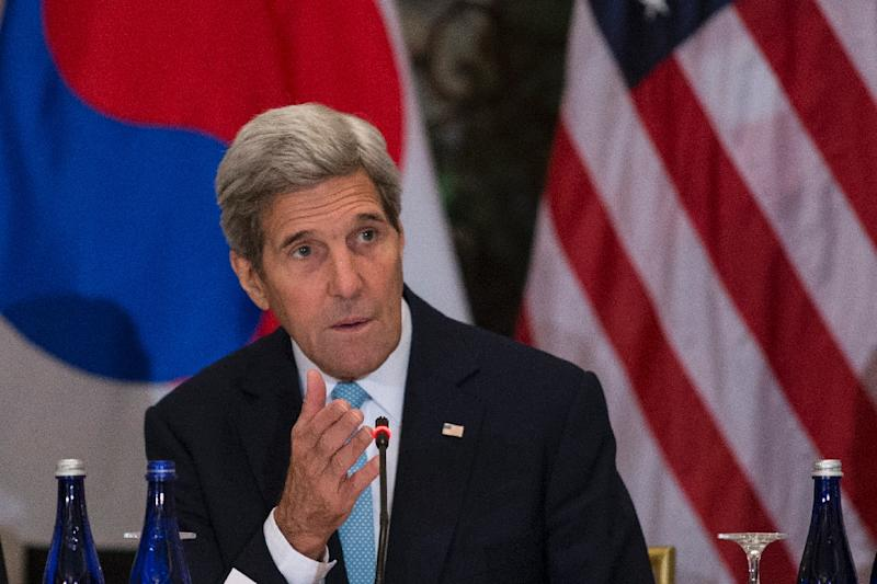 US Secretary of State John Kerry speaks at the United Nations on September 29, 2015