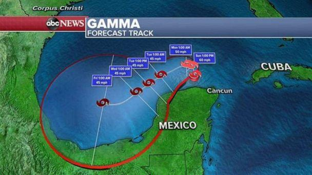 PHOTO: Gamma will then meander around in the extreme southern Gulf of Mexico for the next few days but, while there could be a brief period of strengthening today, Gamma will weaken again beginning Monday and lasting into Wednesday. (ABC News)