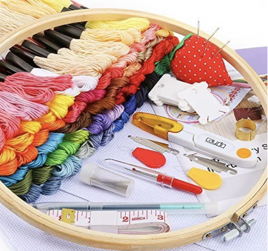 PHOTO: Amazon. Embroidery Beginners Kit with Instructions, 100 Skeins Threads and a Circular Packing Bag