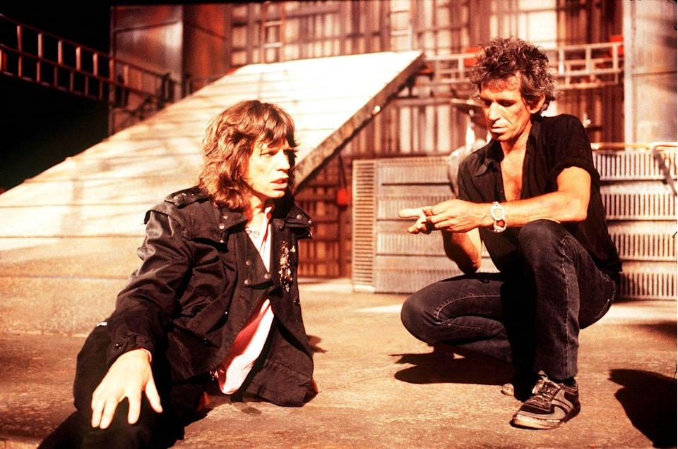 <p>Mick Jagger and Keith Richards on the set of the music video for 'One Hit (To the Body)' in England in May 1986.</p>