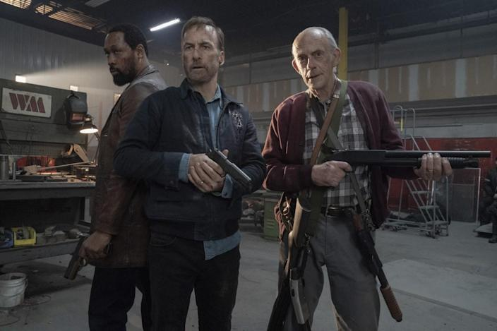 """RZA, from left, Bob Odenkirk and Christopher Lloyd team up in """"Nobody."""""""