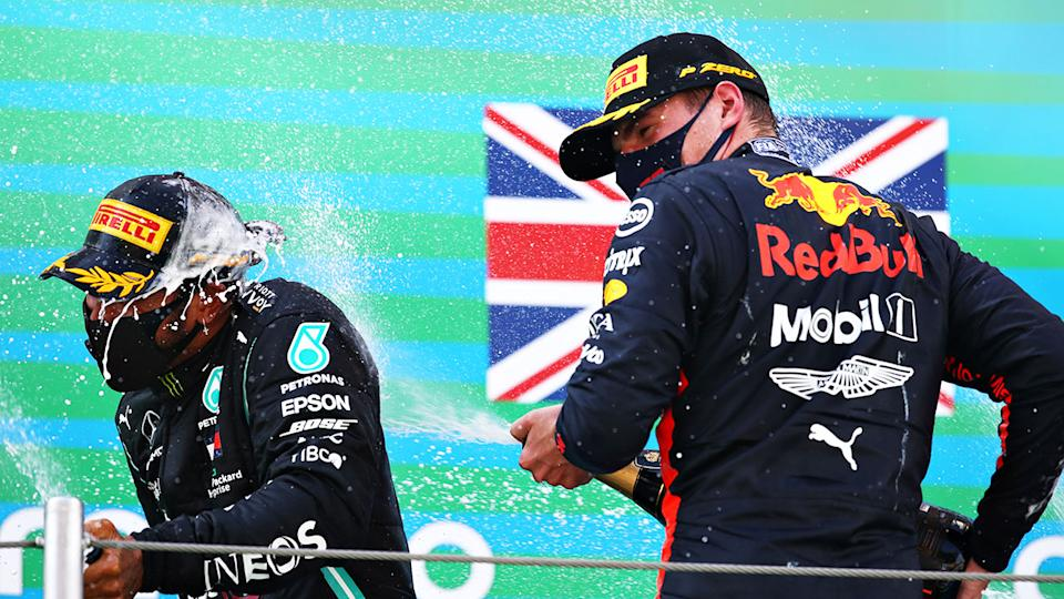 Seen here, Max Verstappen and Lewis Hamilton celebrate after the Spanish GP.
