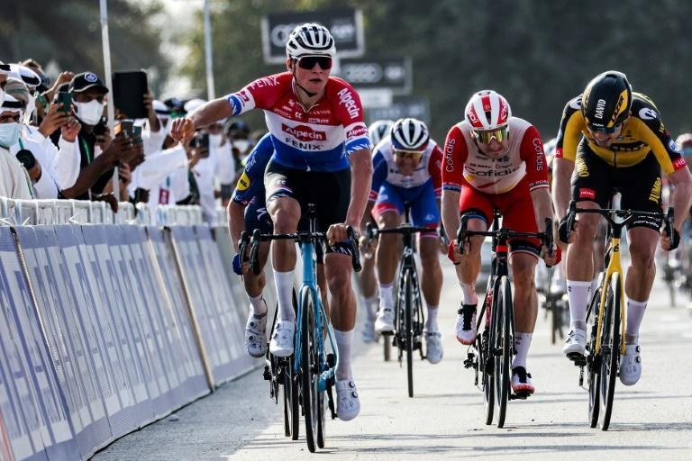 Mathieu van der Poel won the first stage of the UAE Tour in a sprint finish