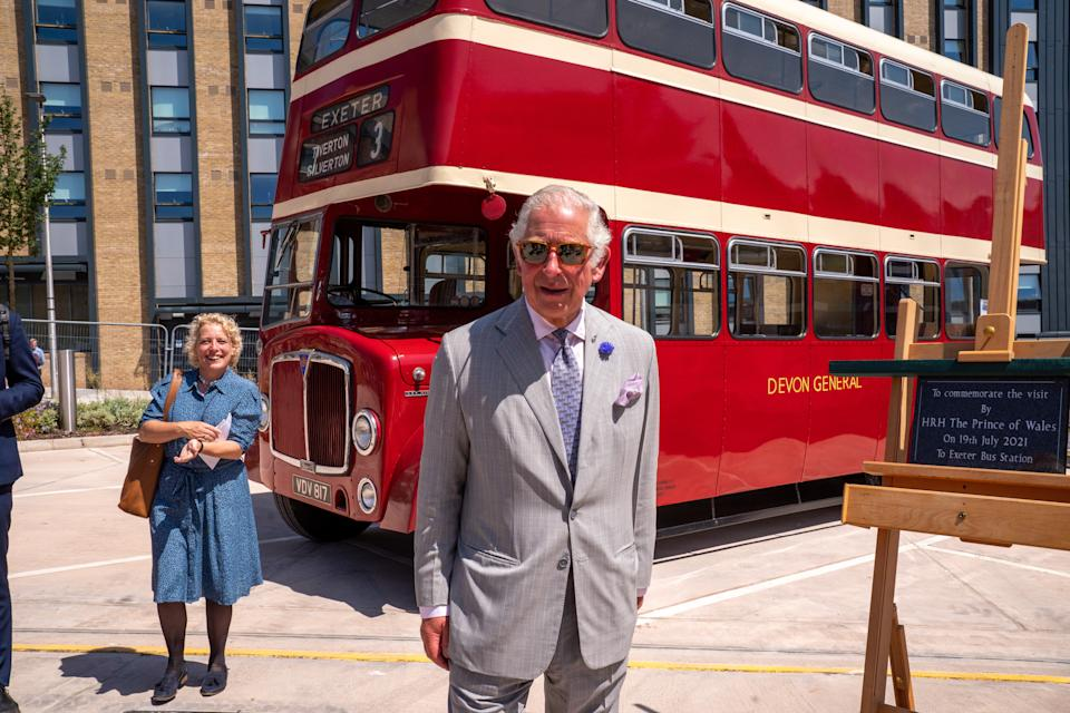 The Prince of Wales during a visit to St Sidwell's bus depot in Exeter to meet with transport workers and the 'Net Zero Heroes' involved in Exeter City Council's ambition to achieve net zero carbon emissions by 2030. Picture date: Monday July 19, 2021.