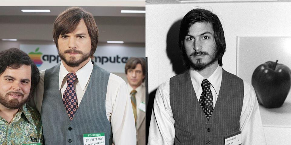 <p>Kutcher is the ultimate doppelgänger of former Apple CEO Steve Jobs, whom he played in the 2013 film <em>Jobs. </em></p>