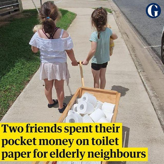 "<p>One of the biggest shortages in supermarkets at the moment is toilet paper as people panic stockpile in the event they can't reach the shops at some point. </p><p>According to The Guardian, two friends clubbed together their pocket money to buy toilet roll to distribute to elderly neighbours in their Queensland community after being shocked at the lack of toilet roll in the shelves in their supermarket.</p><p>Heartwarming.</p><p><a href=""https://www.instagram.com/p/B9mrSMCgHHc/"" rel=""nofollow noopener"" target=""_blank"" data-ylk=""slk:See the original post on Instagram"" class=""link rapid-noclick-resp"">See the original post on Instagram</a></p>"