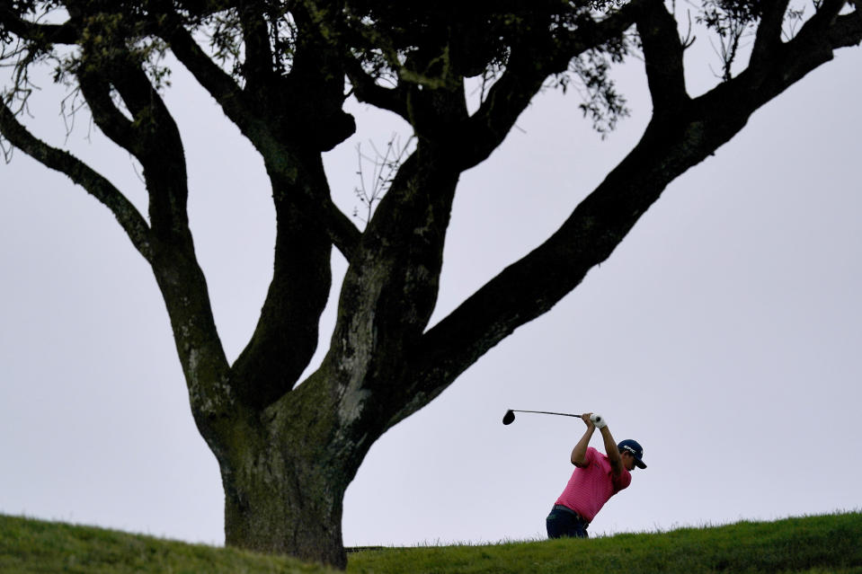 Christian Bezuidenhout, of South Africa, plays his shot from the sixth tee during the first round of the U.S. Open Golf Championship, Thursday, June 17, 2021, at Torrey Pines Golf Course in San Diego. (AP Photo/Gregory Bull)