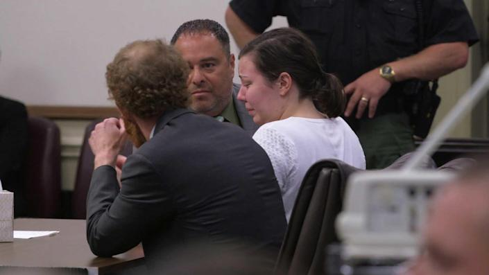 Mary Katherine Higdon reacts to her not guilty verdict. / Credit: CBS News