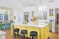 "<p>You don't have to scrap an all-white kitchen to stay on trend. Dip your toe in the color pool instead, whether you store colorful pottery in glass-front cabinets, bring in colorful furniture, or paint a large piece like this kitchen island in Tropical Moss by Dunn-Edwards Paints. </p><p><a class=""link rapid-noclick-resp"" href=""https://go.redirectingat.com?id=74968X1596630&url=https%3A%2F%2Fwww.homedepot.com%2Fb%2FPaint-Paint-Colors%2FYellows-Golds%2FInterior-Paint%2FN-5yc1vZcaw8Z1z0q3xfZ1z140vy&sref=https%3A%2F%2Fwww.countryliving.com%2Fhome-design%2Fdecorating-ideas%2Fg3988%2Fkitchen-trends%2F"" rel=""nofollow noopener"" target=""_blank"" data-ylk=""slk:SHOP YELLOW PAINT"">SHOP YELLOW PAINT</a></p>"
