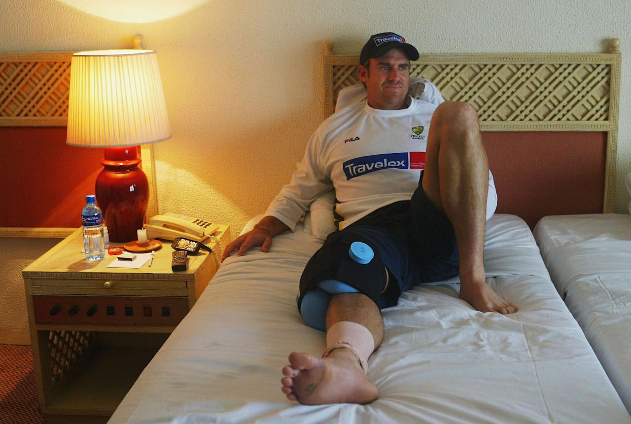 COLOMBO - FEBRUARY 26:  Matthew Hayden of Australia rests his injured knee in his hotel room at the Taj Samudra Hotel on February 26, 2004 in Colombo, Sri Lanka. (Photo by Hamish Blair/Getty Images)