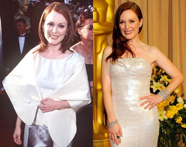 Julianne Moore's been nominated for four Oscars over her acting career and whether she's going to the Oscars in 1998 or in 2010 her red locks look striking in a white dress.