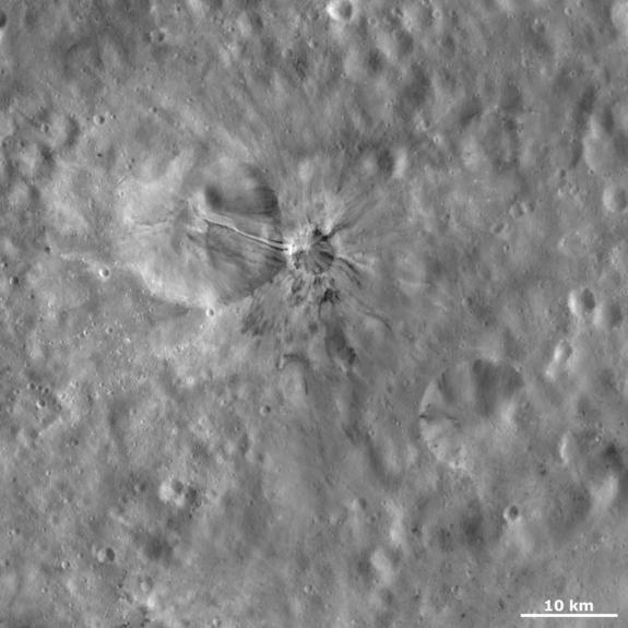 The original black-and-white image of Aelia crater, for comparison purposes.