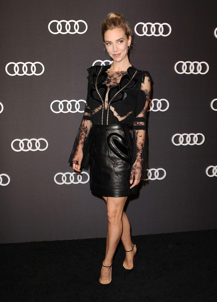 <p>Kirby went for an edgier look in a Elie Saab LBD at an Audi's event for the 2017 Emmy Awards. The dress had intricate sleeve detailing with sheer cutouts and a leather skirt.</p>