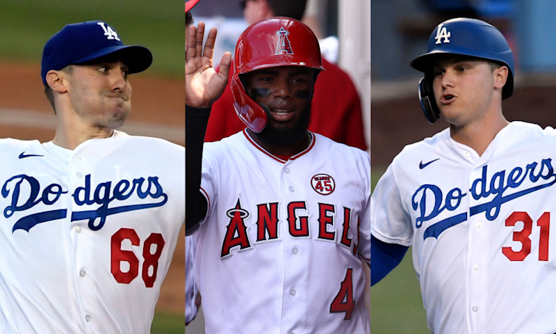 The Angels nearly traded Luis Rengifo, center, to the Dodgers in Februar.