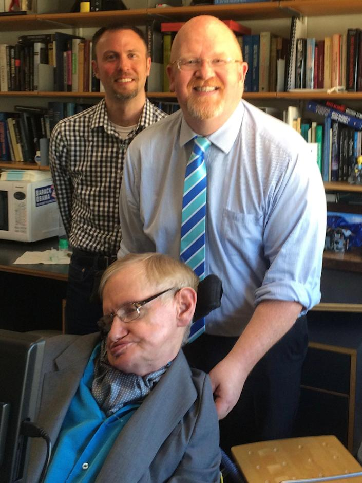 Bigham met Stephen Hawking in 2017 and got him to record a message for one of his previous students. (Brett Bigham)