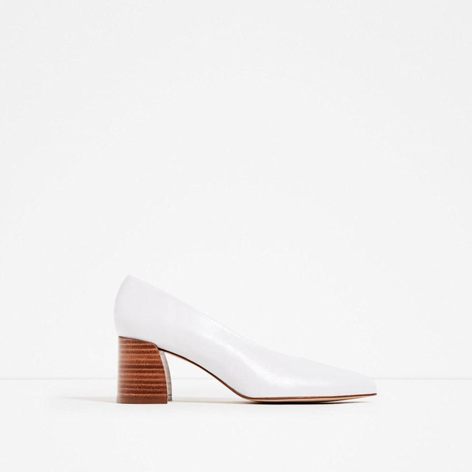 "<p>Leather midheel shoes, $90,<a href=""http://www.zara.com/us/en/woman/shoes/view-all/leather-mid-heel-shoes-c734142p3742051.html"" rel=""nofollow noopener"" target=""_blank"" data-ylk=""slk:Zara.com"" class=""link rapid-noclick-resp""> Zara.com</a></p>"